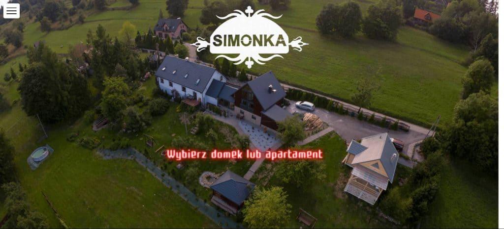 Wybór obiektu ze zdjęcia z drona na Domki Apartamenty Simonka