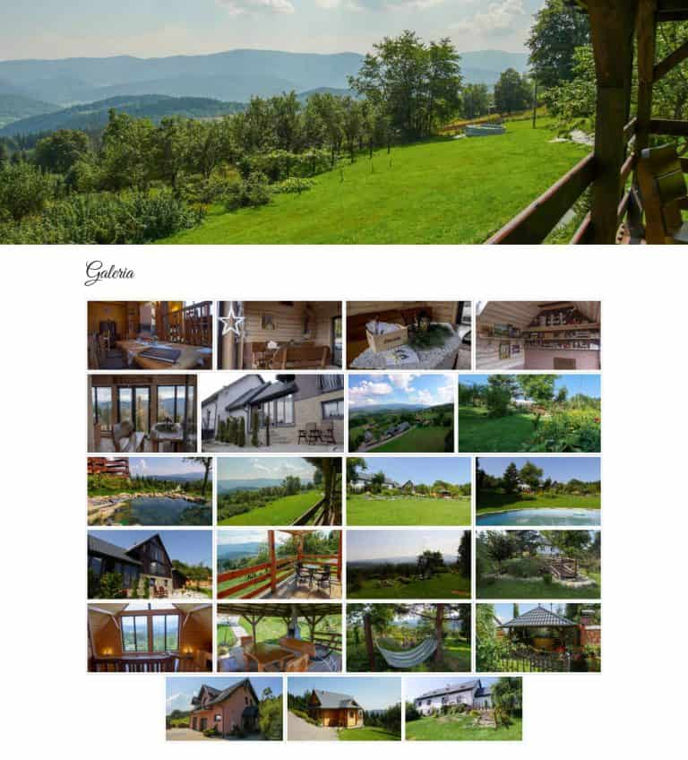 Galeria zdjęć na stronie internetowej Domki Apartamenty Simonka