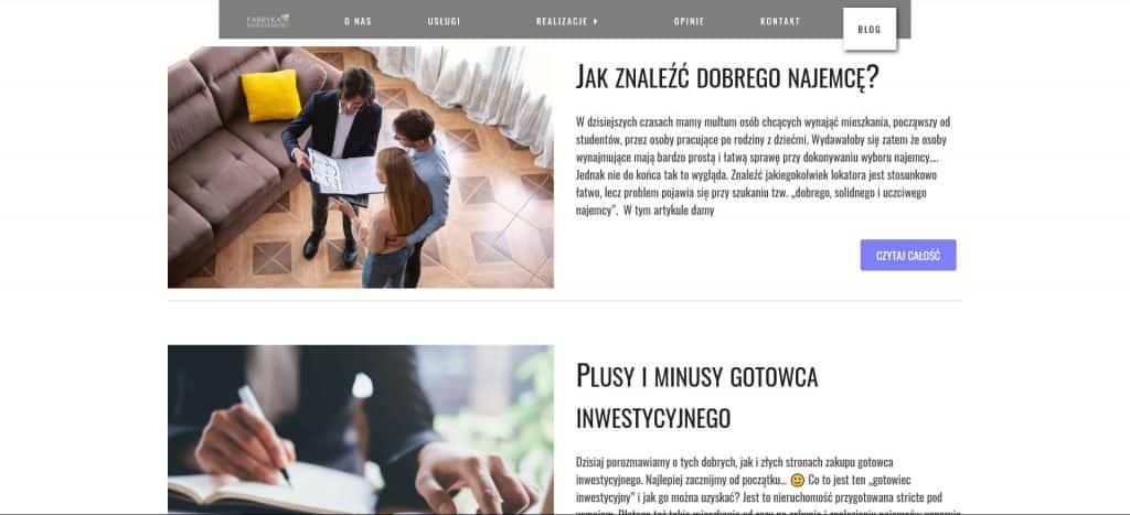 Blog na stronie Fabryka Nieruchomości