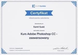 Certyfikat ukończenia kursu Adobe Photoshop CC - zaawansowany