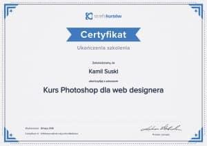 Certyfikat ukończenia kursu Photoshop dla web designera