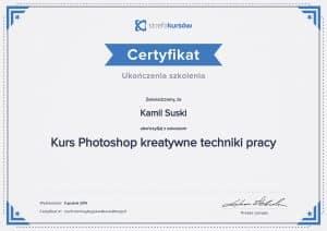Certyfikat ukończenia kursu Photoshop kreatywne techniki pracy