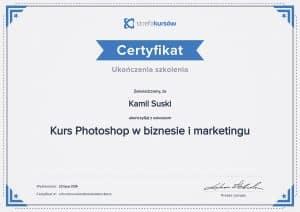Certyfikat ukończenia kursu Photoshop w biznesie i marketingu