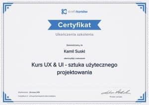 Certyfikat ukończenia Kurs UX&UI - sztuka użytecznego projektowania
