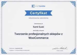 Certyfikat ukończenia kursu Tworzenie profesjonalnych sklepów z WooCommerce