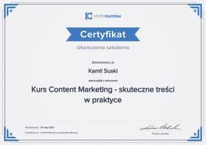 Certyfikat ukończenia kursu Content Marketing - skuteczne treści w praktyce