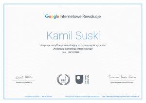 Certyfikat ukończenia kursu Podstawy marketingu internetowego od Google
